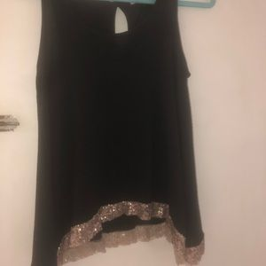 Charming Charlie Tank Top with Gold Sequin Trim